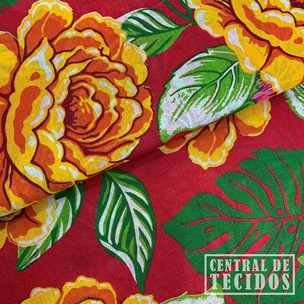 Chita Estampada | Fundo vermelho rosas amarelas