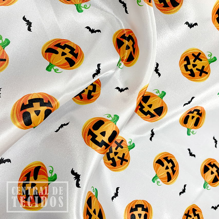 Cetim Estampado Digital   Halloween Abóboras