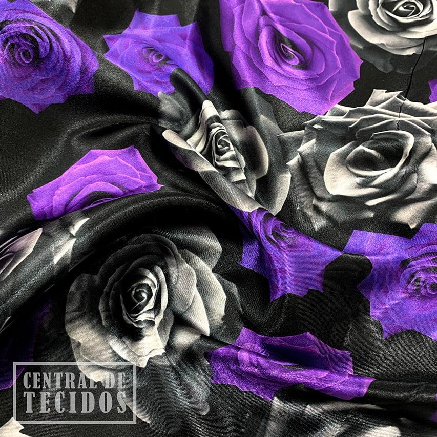 Cetim Estampado Digital | Rosas Roxas e Pretas