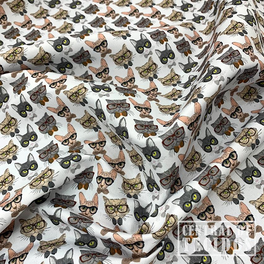 Microsuede Estampado | Gatos de óculos