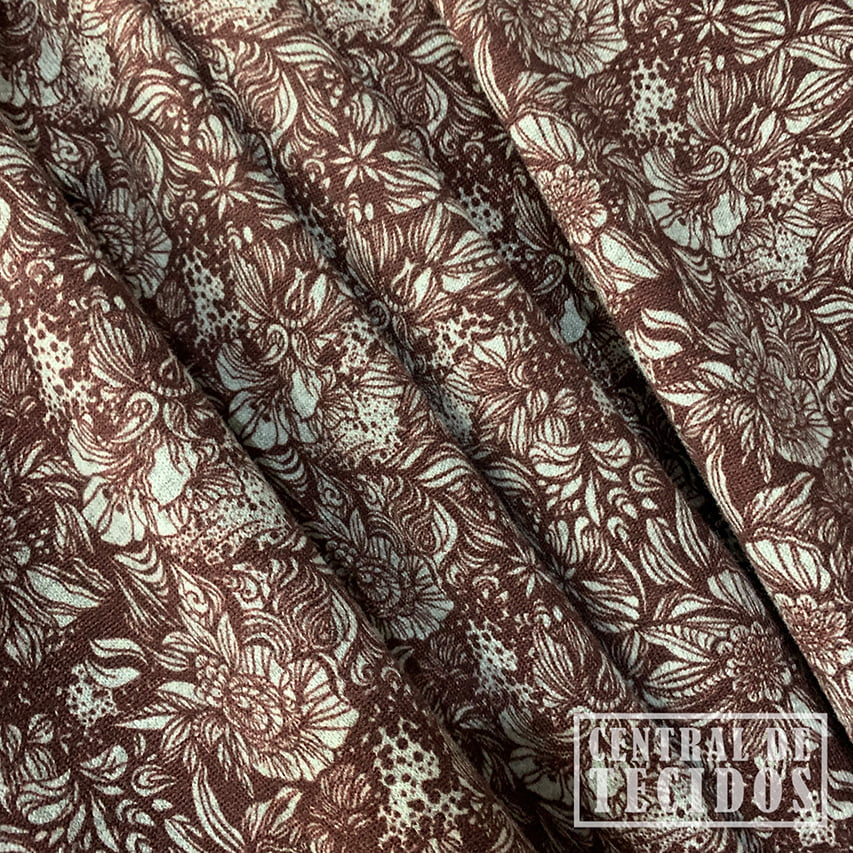 Malha Tricot Winter Estampado   Floral marrom