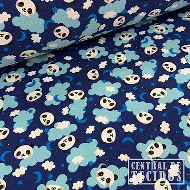 Malha Cotton Classic Estampado | Pandas nas nuvens fundo marinho