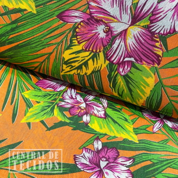 Chita Estampada | Laranja Floral Folhagem