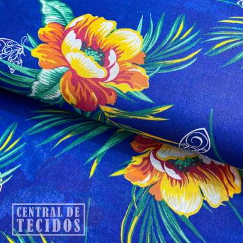 Chita Estampada | Azul Floral Borboleta