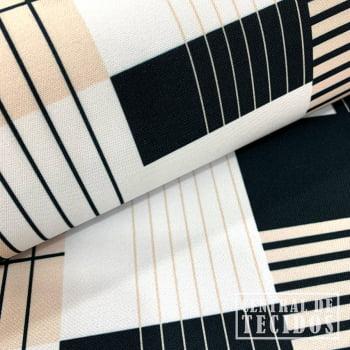 Gabardine Two Way com Elastano Color | Geométrico