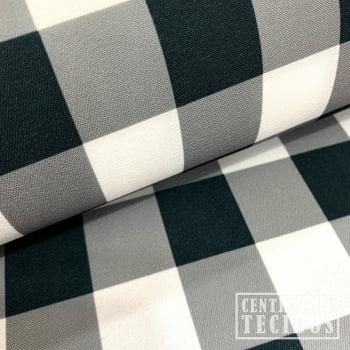 Gabardine Two Way com Elastano Color | Xadrez Vichy Preto e Branco