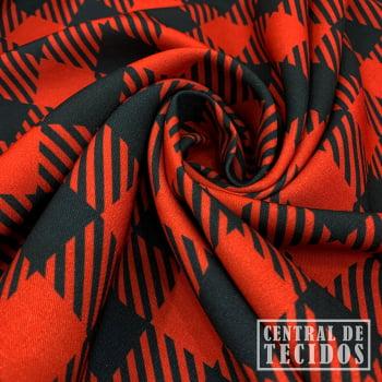 Gabardine Two Way com Elastano Color | Xadrez Vichy vermelho