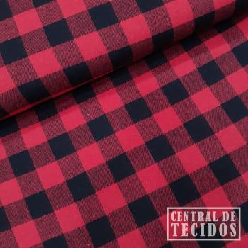 Flanela New | Fundo vermelho  e quadriculado pequeno preto
