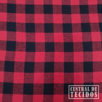 Flanela New   Fundo vermelho  e quadriculado pequeno preto
