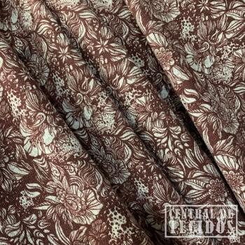 Malha Tricot Winter Estampado | Floral marrom