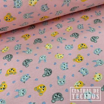 Malha Cotton Classic Estampado | Bichos fundo rosa claro