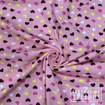 Malha Cotton Classic Estampado | Corações fundo rosa claro