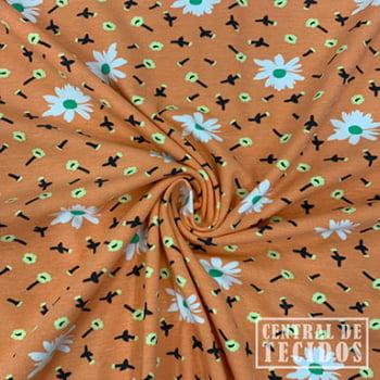 Malha Cotton Classic Estampado | Flores fundo laranja