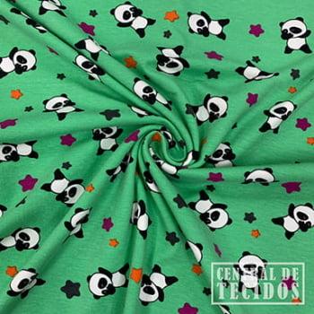 Malha Cotton Classic Estampado | Panda fundo verde
