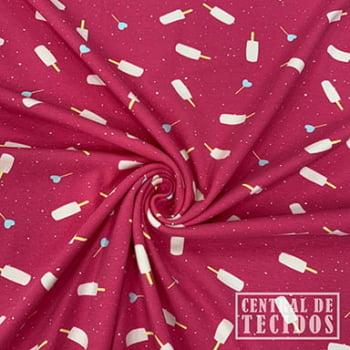 Malha Cotton Classic Estampado | Picolés fundo rosa