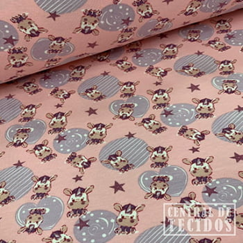 Malha Cotton Classic Estampado | Unicórnios fundo rosa