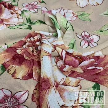 Crepe Bamboo Crinkle Estampado | Floral fundo bege