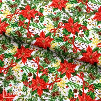 Tricoline Digital | Natal Floral Branco