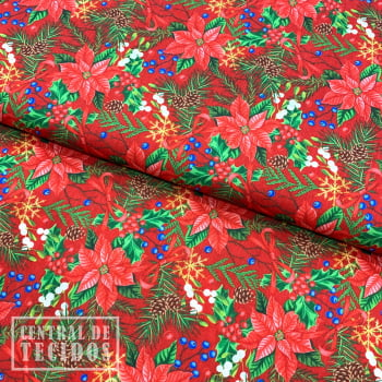 Tricoline Digital | Natal Floral Vermelho