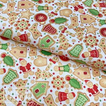Tricoline Estampado   Natal Creme Biscoitos