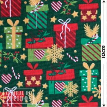 Tricoline Estampado   Natal Verde Presentes