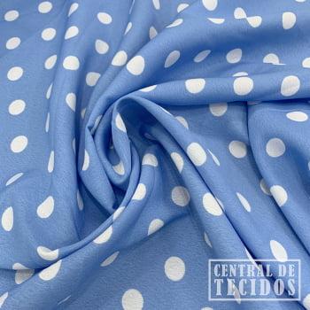 Crepe Haya Estampado | Petit Pois Azul Claro