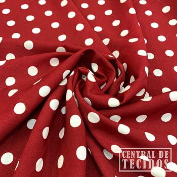 Crepe Haya Estampado | Petit Pois Vermelho