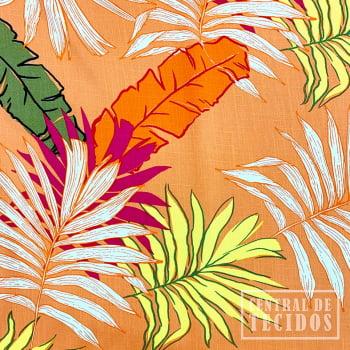 Popeline de Viscose Estampada   Coral Folhagem Colorido