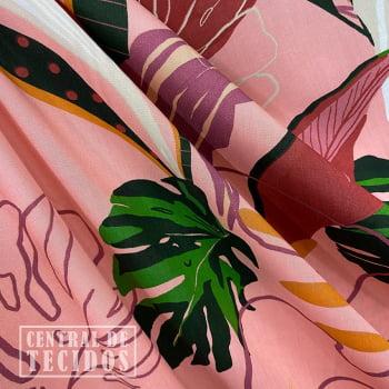 Popeline de Viscose | Coral Folhagem Abstrato
