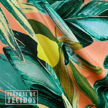 Popeline de Viscose | Coral Folhagem Limões