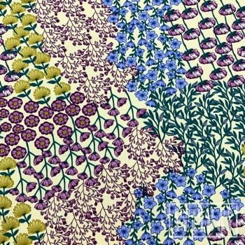 Popeline de Viscose Estampada | Creme Floral Colorido