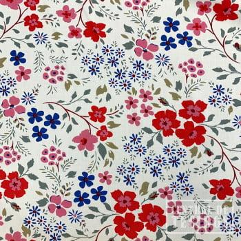 Popeline de Viscose Estampada   Off Wihte Floral Colorido