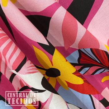 Popeline de Viscose | Floral Geométrico