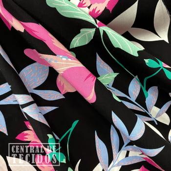 Popeline de Viscose | Petro Floral Rosa e Folhagem Lilás