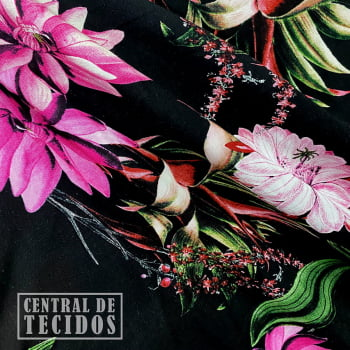 Popeline de Viscose | Preto Floral Rosa