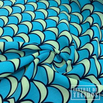 Viscose Bali Estampada   Azul Sereia