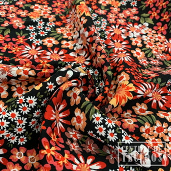 Viscose Bali Estampada | Preto Floral Colorido