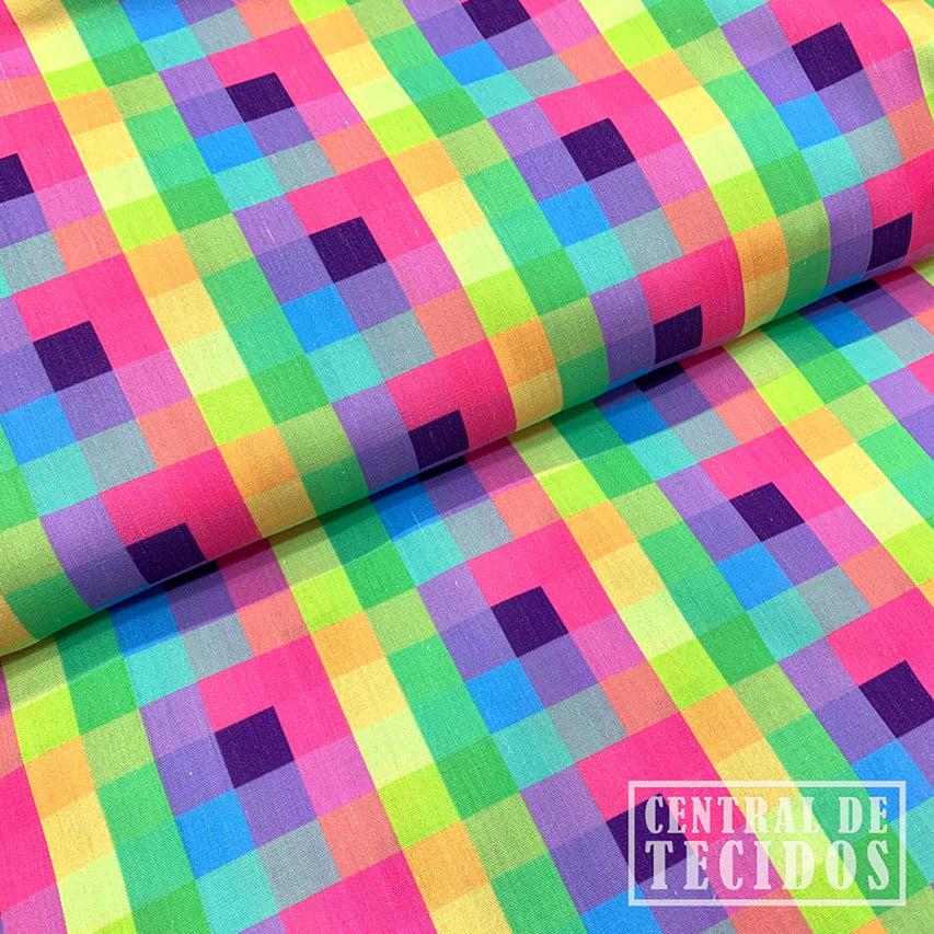 Tricoline Digital | Quadriculado colorido