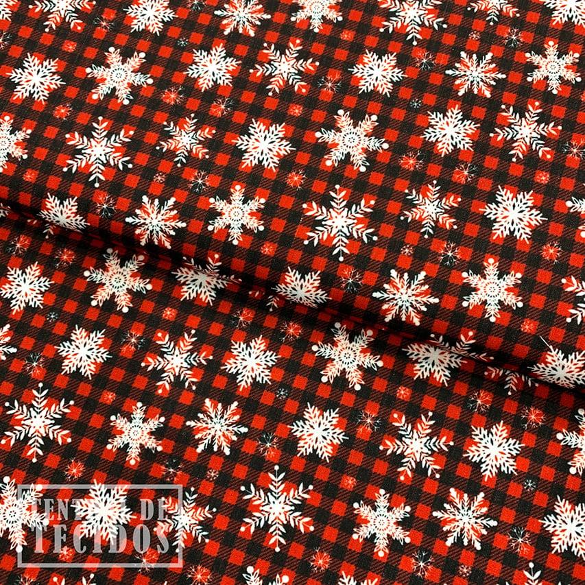 Tricoline Digital   Natal Xadrez Flocos de Neve
