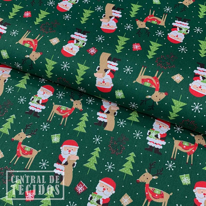 Tricoline Estampado   Natal Verde Papai Noel