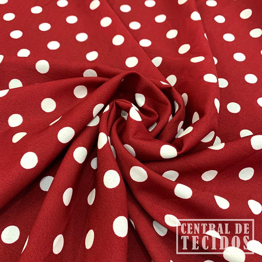 Crepe Haya Estampado   Petit Pois Vermelho