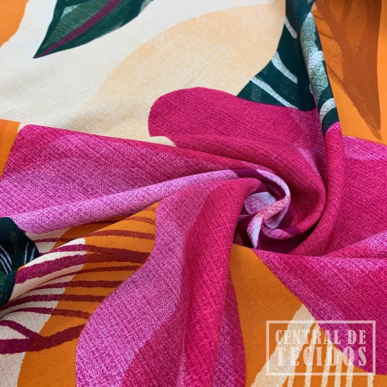 Viscose Bali Estampada | Laranja Floral Rosa